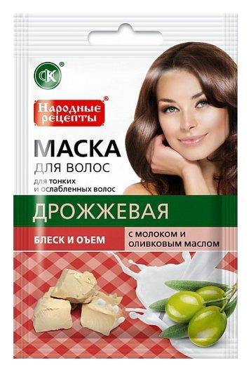 """Дрожжевая маска для волос с молоком и оливковым маслом """"Блеск и объем""""  Фитокосметик"""