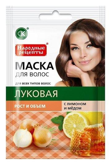 """Луковая маска для волос с лимоном и медом """"Рост и объем""""  Фитокосметик"""