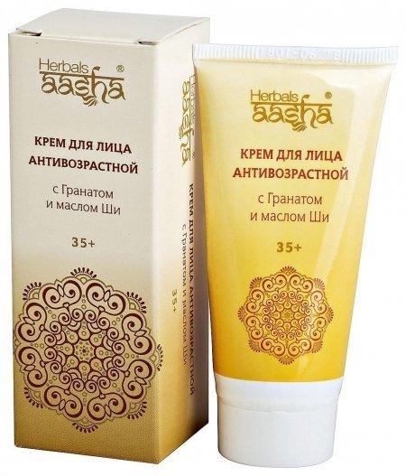Крем для лица антивозрастной с Гранатом и маслом Ши  Aasha Herbals