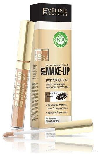 Тональный EVELINE Жидкий корректор 2в1 с апликатором ART Make-UP  Eveline Cosmetics