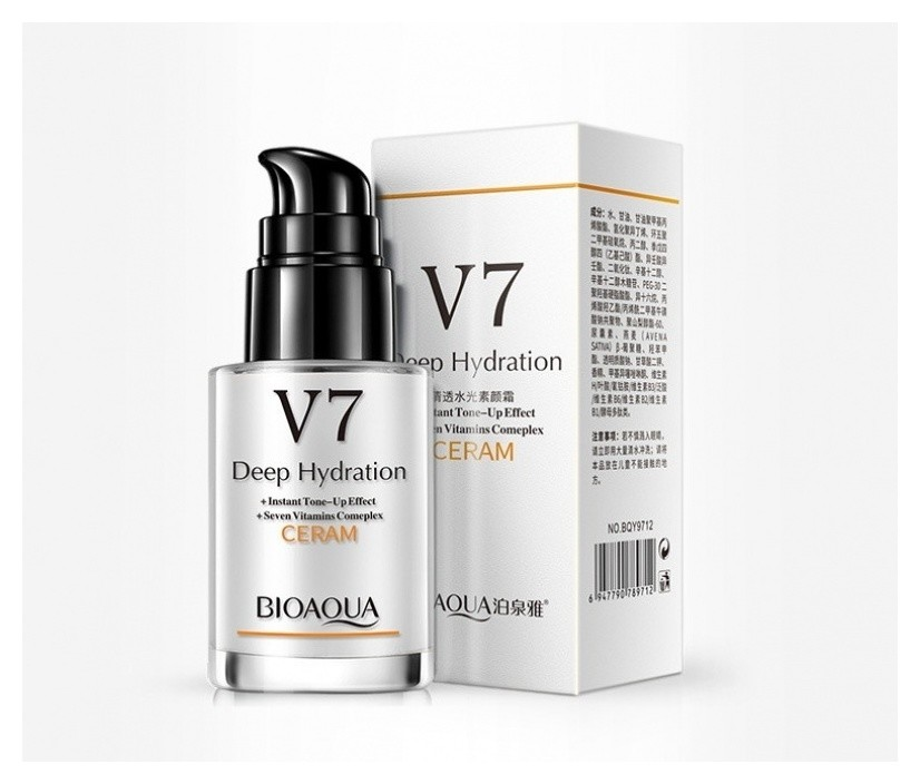 База под макияж с дозатором на витаминной основе v7 для придания сияния коже  Bioaqua