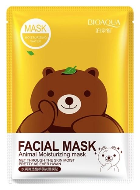 Тканевая очищающая маска для лица с экстрактом зелёного чая FASIAL ANIMAL MASK (МЕДВЕДЬ)  Bioaqua