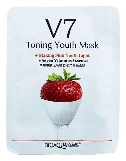 Омолаживающая тканевая маска для лица с комплексом витаминов V7 и экстрактом клубники  Bioaqua