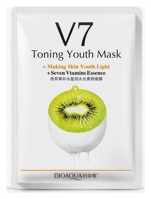 Омолаживающая тканевая маска для лица с комплексом витаминов V7 и экстрактом киви  Bioaqua