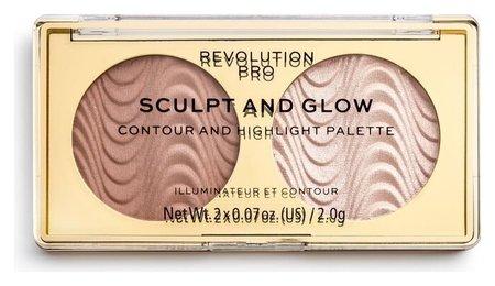 """Бронзер и хайлайтер для лица """"Sculpt & Glow""""  Revolution PRO"""
