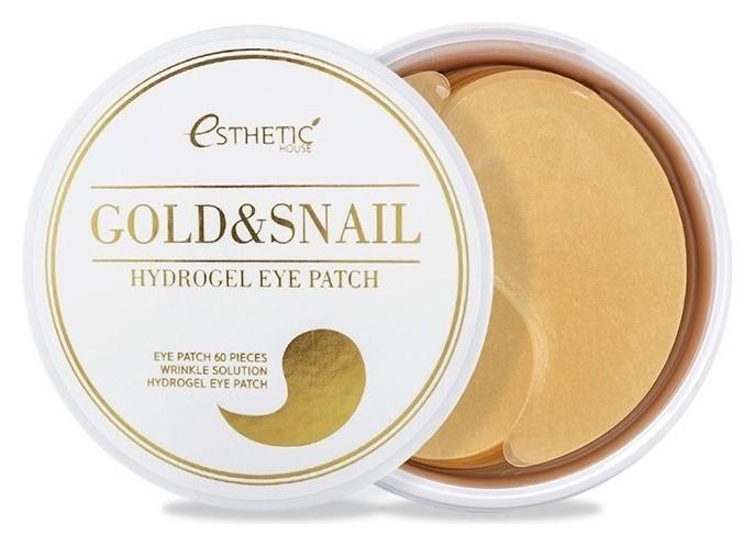 Гидрогелевые патчи для глаз с экстрактом слизи улитки и золота Gold & Snail Hydrogel Eye Patch  Esthetic House