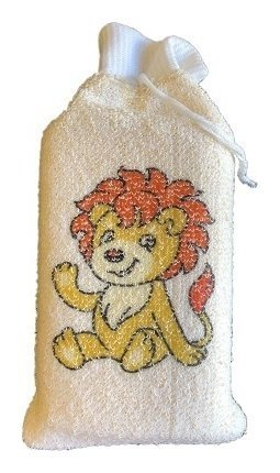 Мочалка детская брикет с манжетой из хлопка с рисунком  VIVAL