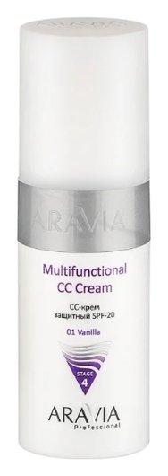 CС-крем для лица защитный мультифункциональный SPF-20, Тон 01 Vanilla  Aravia Professional