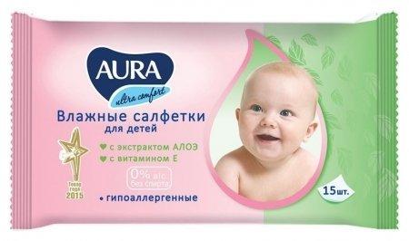 Влажные салфетки для детей  Aura