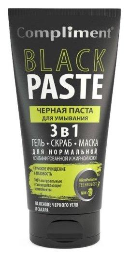 Паста для умывания Черная 3в1 гель скраб маска Black Paste  Compliment