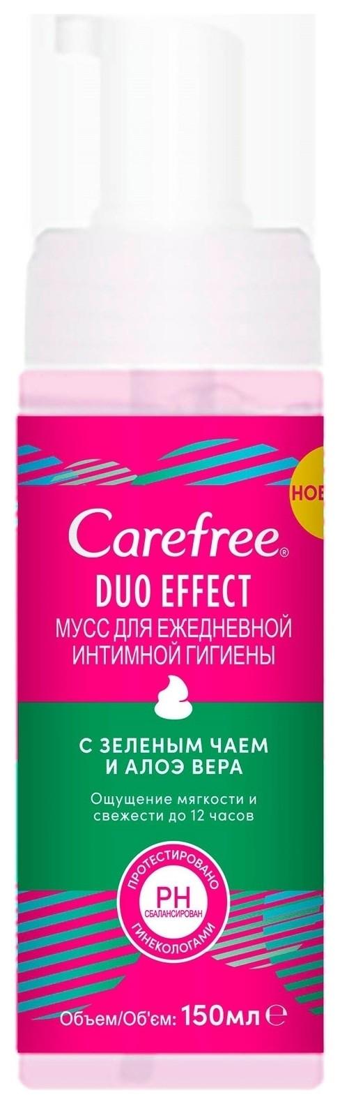 Мусс для интимной гигиены с зеленым чаем и алоэ вера Duo Effect  Carefree