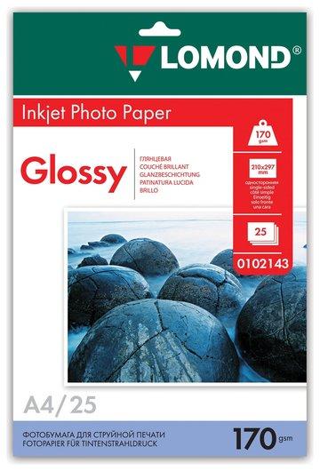 Фотобумага для струйной печати, А4, 170г/м2, 25 л, односторонняя глянцевая  Lomond