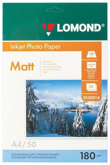 Фотобумага для струйной печати, А4, 180г/м2, 50 л, односторонняя матовая  Lomond