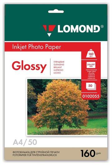 Фотобумага для струйной печати, А4, 160 г/м2, 50 л, односторонняя глянцевая  Lomond