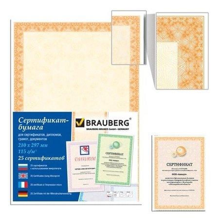 """Сертификат-бумага для лазерной печати, А4, 25 листов, 115г/м2, """"Оранжевый интенсив""""  Brauberg"""