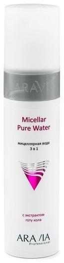 Мицеллярная вода 3 в 1 с экстрактом готу кола Micellar Pure Water  Aravia Professional