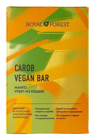 Шоколад Манго, урбеч из кешью Carob Vegan Bar  Royal Forest