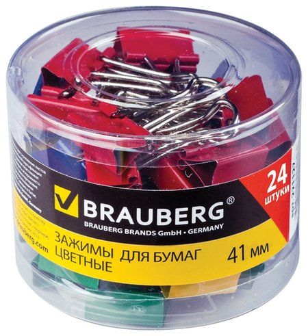 Зажимы для бумаг Brauberg, комплект 24 шт., 41 мм, на 200 листов, цветные, в пластиковом цилиндре  Brauberg