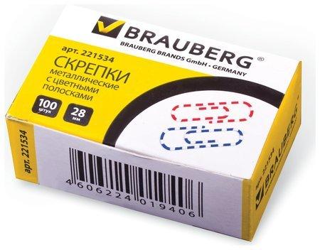Скрепки Brauberg, 28 мм с цветными полосками, 100 шт., в картонной коробке  Brauberg