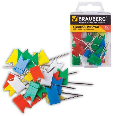 Булавки-флажки маркировочные Brauberg, цветные, 50 шт., пластиковая коробка, европодвес  Brauberg