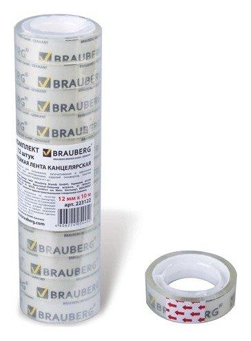 Клейкие ленты 12 мм х 10 м канцелярские Brauberg, комплект 12 шт., прозр., гарант. длина  Brauberg