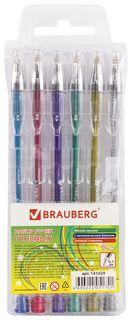 """Ручки гелевые Brauberg, набор 6 шт., ассорти, """"Jet"""", чернила металлик, узел 0,7 мм, линия письма 0,5 мм  Brauberg"""
