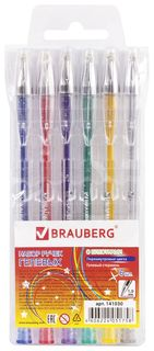 """Ручки гелевые Brauberg, набор 6 шт., ассорти, """"Jet"""", чернила с блестками, узел 1 мм, линия письма 0,8 мм  Brauberg"""