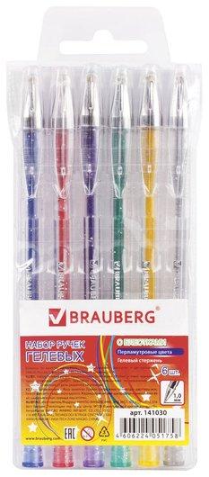 Ручки гелевые Brauberg, набор 6 шт., ассорти, Jet, чернила с блестками, узел 1 мм, линия письма 0,8 мм Brauberg