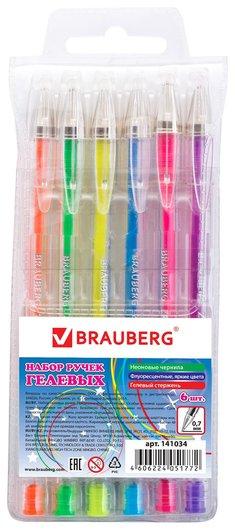 """Ручки гелевые Brauberg, набор 6 шт., ассорти, """"Jet"""", чернила неоновые, узел 0,7 мм, линия письма 0,5 мм  Brauberg"""