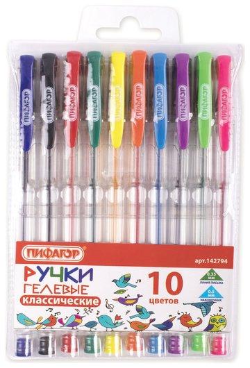 Ручки гелевые пифагор, набор 10 шт. ассорти, корпус прозрачный, узел 0,5 мм, линия письма 0,35 мм  Пифагор