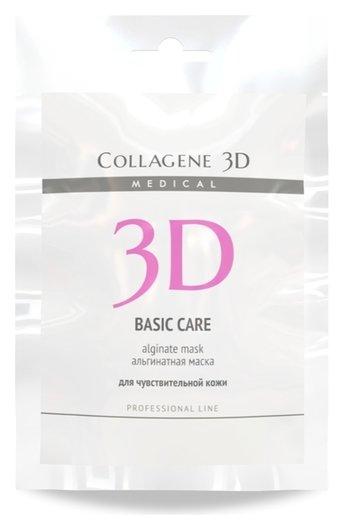 Альгинатная маска для лица и тела Basic Care с розовой глиной  Medical Collagene 3D
