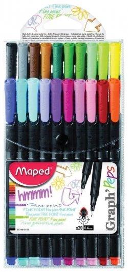 """Ручки капиллярные Maped (Франция), набор 20 шт., ассорти, """"Graph Pep's"""", линия письма 0,4 мм  Maped"""