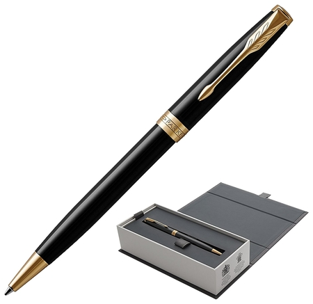 """Ручка шариковая Parker """"Sonnet Core Lacquer Black Gt"""", корпус черный глянцевый лак, позолоченные детали, черная  Parker"""