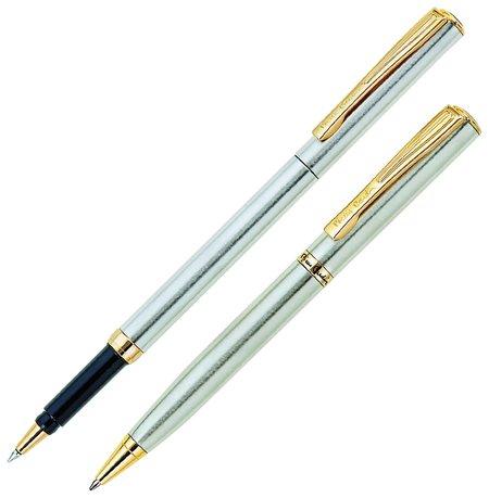 Набор PIERRE CARDIN: шариковая ручка + ручка-роллер, корпус серебристый, латунь, синий  Pierre cardin
