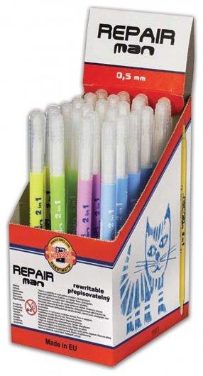 """Ручка стираемая роллер Koh-i-noor """"Repair Man"""", синяя, корпус ассорти, пишущий узел 0,5 мм, линия письма 0,3 мм  Koh-i-noor"""
