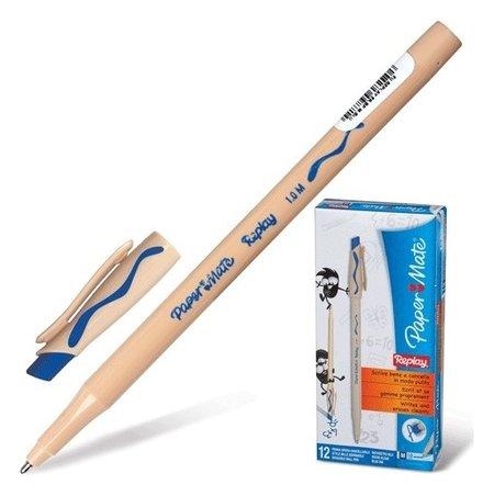 """Ручка стираемая шариковая Paper Mate """"Replay"""", синяя, корпус бежевый, пишущий узел 1,2 мм, линия письма 1 мм  Paper mate"""