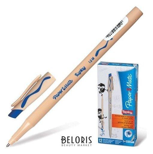 Ручка стираемая шариковая Paper Mate Replay, синяя, корпус бежевый, пишущий узел 1,2 мм, линия письма 1 мм Paper mate