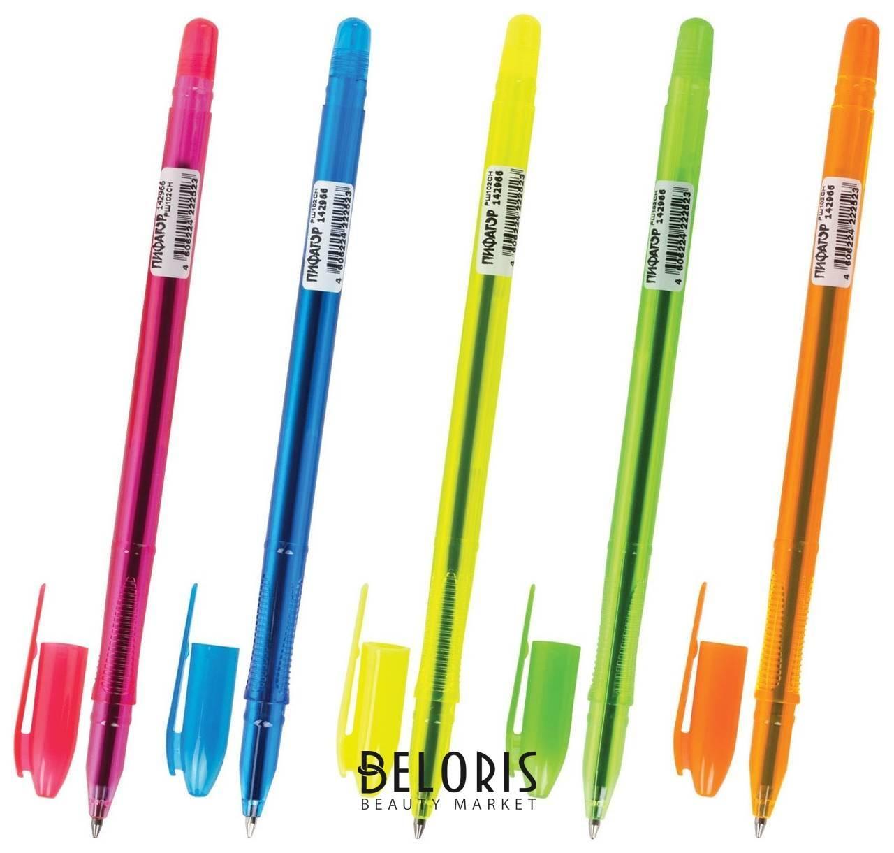 Ручка шариковая масляная пифагор Neon, синяя, корпус неоновый ассорти, узел 1 мм, линия письма 0,7 мм Пифагор
