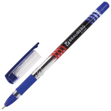 """Ручка шариковая масляная с грипом Brauberg """"Spark"""", синяя, печать, пишущий узел 0,7 мм, линия письма 0,35 мм  Brauberg"""