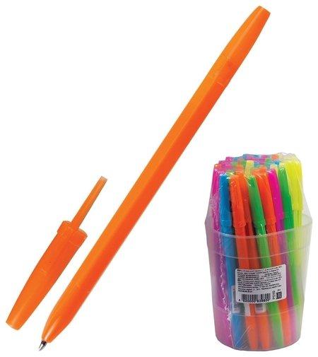 Ручка шариковая СТАММ Оптима, синяя, корпус неоновый ассорти, узел 1,2 мм, линия письма 0,7 мм Стамм