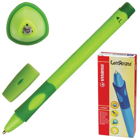 """Ручка шариковая с грипом Stabilo """"Left Right"""", синяя, для левшей, корпус зеленый, узел 0,8 мм, линия письма 0,4 мм   Stabilo"""