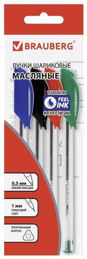 """Ручки шариковые масляные Brauberg, набор 4 шт., ассорти, """"Extra Glide"""", узел 1 мм, линия письма 0,5 мм  Brauberg"""