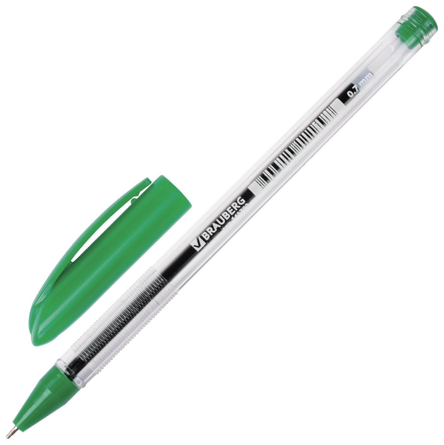 """Ручка шариковая масляная Brauberg """"Rite-oil"""", зеленая, корпус прозрачный, узел 0,7 мм, линия письма 0,35 мм  Brauberg"""