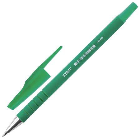 Ручка шариковая Staff, зеленая, корпус прорезиненный зеленый, узел 0,7 мм, линия письма 0,35 мм