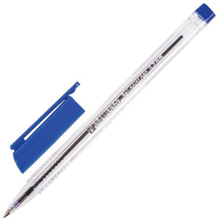 Ручка шариковая Brauberg трехгранная, синяя, корпус прозрачный, узел 0,7 мм, линия письма 0,3 мм  Brauberg