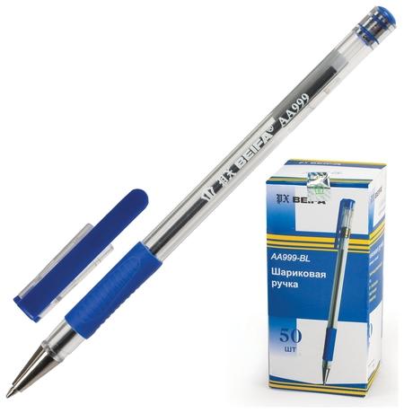 Ручка шариковая с грипом Beifa, синяя, корпус прозрачный, узел 0,7 мм, линия письма 0,5 мм   Beifa