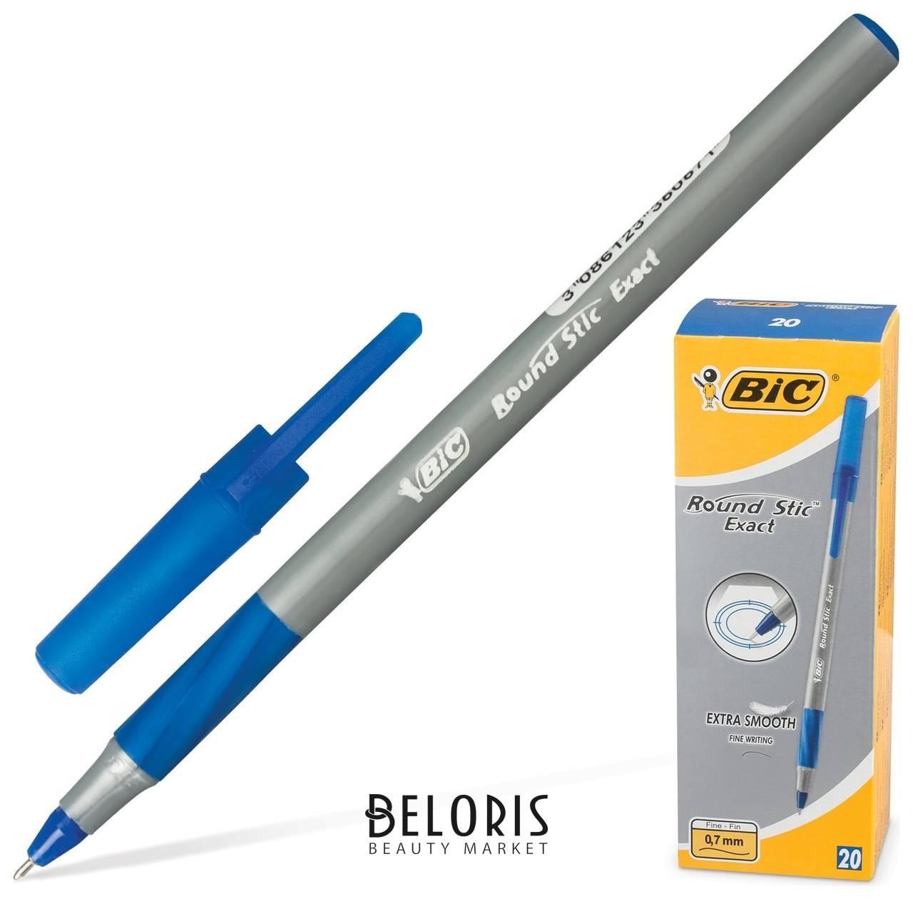 Ручка шариковая с грипом Bic Round Stic Exact, синяя, корпус серый, узел 0,8 мм, линия письма 0,3 мм BIC