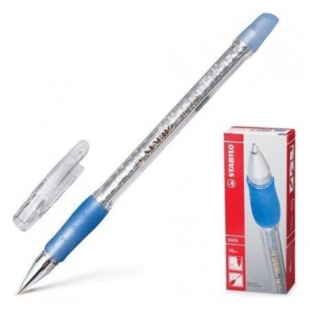Ручка шариковая с грипом синяя, корпус прозрачный с блестками, узел 0,5 мм, линия письма 0,3 мм Keris  Stabilo