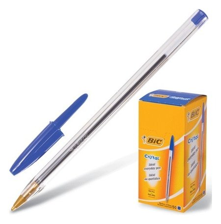 Ручка шариковая Bic Cristal, синяя, корпус прозрачный, узел 1 мм, линия письма 0,32 мм BIC