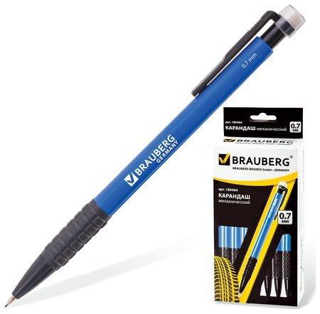 """Карандаш механический Brauberg """"Comfort"""", корпус синий, резиновый грип, ластик, 0,7 мм  Brauberg"""